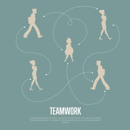 logical: Abstract teamwork banner with people silhouettes and logical connections between them, isolated vector illustration on gray background. Office life. Business team work process concept