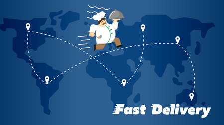 white uniform: Chef in white uniform running with restaurant cloche on background of blue world map with routes. Fast food delivery design, vector illustration. Worldwide shipping and moving concept. Illustration