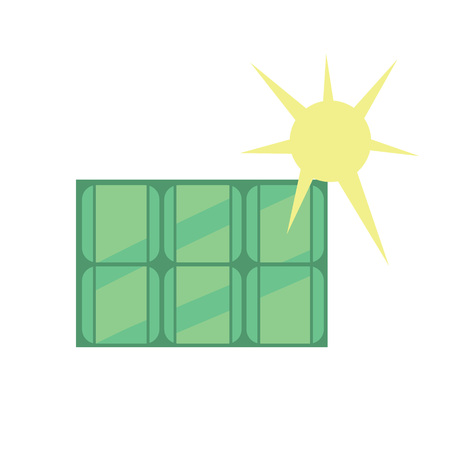 production of energy: Solar panel icon. Vector illustration production energy from the sun. Eco generation. Clean energy. Renewable resources concept. Isolated object