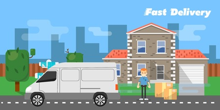 commercial vehicle: White truck and delivery boy with cardboard boxes near house on background of urban landscape. Fast delivery banner, vector illustration. Commercial vehicle. Professional and reliable courier service