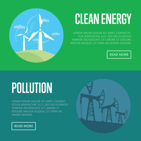 sources: Clean energy and pollution vector illustration set. Wind turbines in green field under blue sky. Oil pump energy industrial machine for petroleum. Traditional and alternative electricity sources