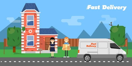 reliable: Delivery boy giving cardboard box to young woman near house on background of nature landscape. Fast delivery banner, vector illustration. Commercial vehicle. Professional and reliable courier service Illustration
