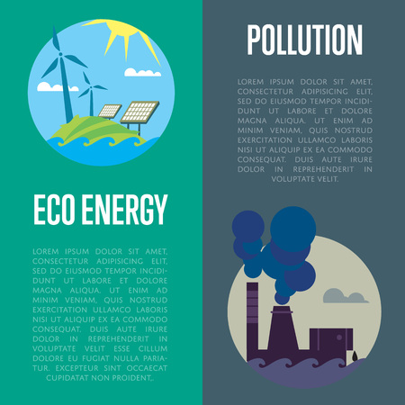 alternative energy sources: Eco energy and air pollution vector illustration set. From pipe factory smoke, polluting atmosphere. Solar panels and wind turbines in natural landscape. Traditional and alternative sources
