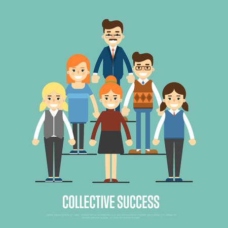 collective: Group of smiling and young cartoon business people stand on blue background. Collective success vector illustration. Teamwork concept. Collaboration and partnership, working together. Business team