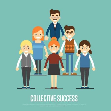 Groupe de sourire et de jeunes gens d'affaires de dessin animé debout sur fond bleu. Collective succès illustration vectorielle. concept de travail d'équipe. La collaboration et le partenariat, travailler ensemble. Business team