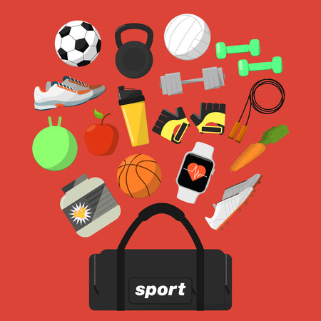 boll: Fitness and healthy lifestyle banner, vector illustration in flat style. Different athletic equipments and nutrition above big sports bag on red background. Workout concept. Outdoors activity.