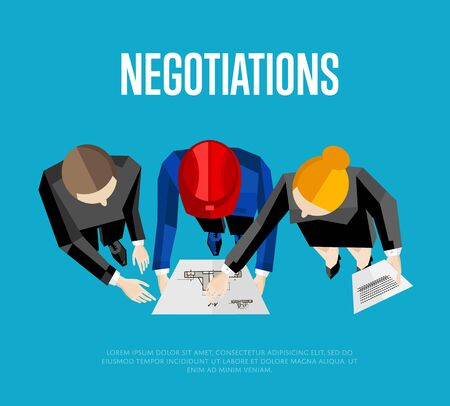 discussing: Negotiation banner, vector illustration. Top view of construction professionals discussing details of project with drawing. Three engineer builders with blueprint on blue background. Illustration