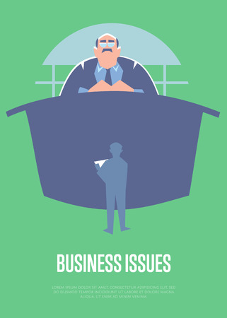 subordinate: Business issues banner with big boss sitting at table and little subordinate worker before him, isolated vector illustration on green background. Communication of manager and staff. Working meeting Illustration