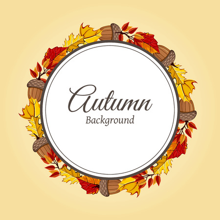 autumnal: Wreath of autumn leaves vector illustration. Autumnal round frame. Background with hand drawn autumn leaves. Design elements. Illustration