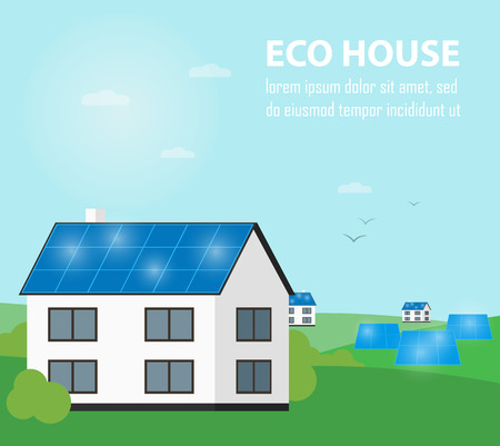 clean energy: Eco house vector illustration. Solar panels on suburban home. Eco settlement. The production of energy from the sun. Green power. Modern alternative energy generation. Countryside landscape Illustration