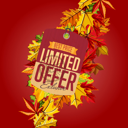 best ad: Autumn sale banner, vector illustration. Exclusive limited offer, best price label in vintage style on red background with colorful autumn leaves. Retro design promotional badge, sticker, ad.