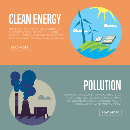 sources: Clean energy and air pollution vector illustration set. Pollution by smoke coming out of factory chimneys. Solar panels and wind turbines under blue sky. Traditional and alternative sources Illustration
