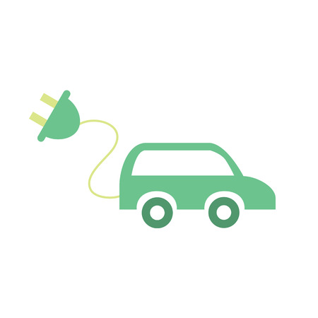 propel: Electric car icon. Vector illustration of renewable source of energy to propel the vehicle. Eco car with electric plug. Alternative power concept. Isolated object