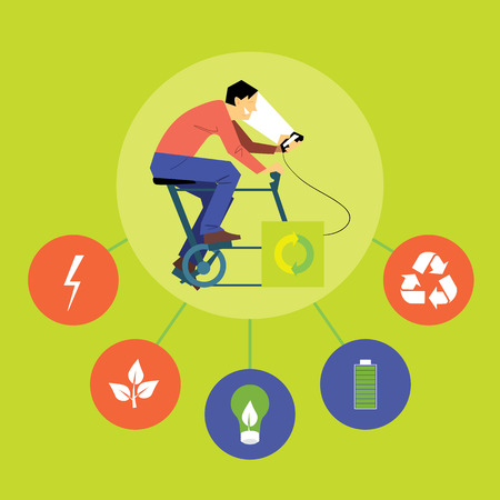 Renewable energy vector illustration. Man on bicycle with dynamo generates power for your smartphone with eco icons. Charging station. Clean energy. Eco generation. Alternative technologies Ilustração