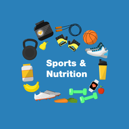lifestyle outdoors: Fitness and healthy lifestyle banner, vector illustration in flat style. Different athletic equipments and nutrition around text on blue background. Outdoors activity. Workout and gymnastics.