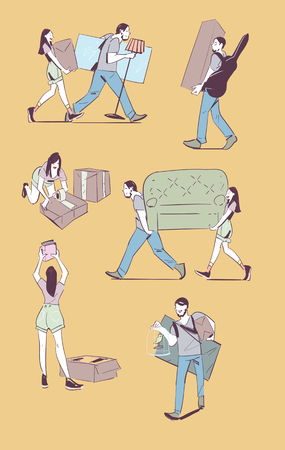 Moving home concept vector illustration. Young couple making a move new home. Sketches on moving. Hand drawing. Illustration