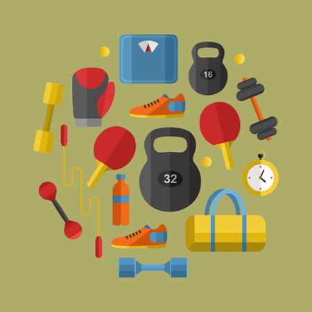 weigher: Vector illustration of gym sports equipment banner in flat style. Sports equipments on grey background. Outdoors activity. Workout and gymnastics. Different tools for sport.