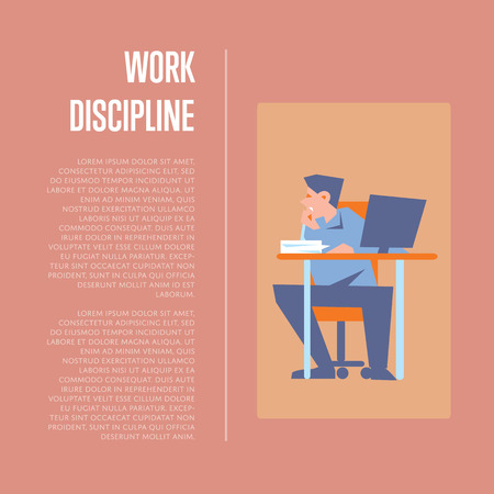 discipline: Young bewildered employee sitting at table with computer in office. Work discipline banner with space for text, isolated vector illustration on vinous background. Office life. Business process concept