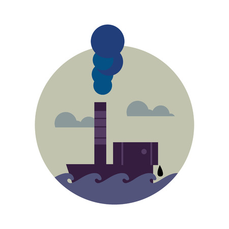 polluting: Air pollution banner, vector illustration. From pipe factory smoke, polluting the atmosphere. Environmental problems. Smoking factory concept. Heavy industry plant. Toxic smoke icon