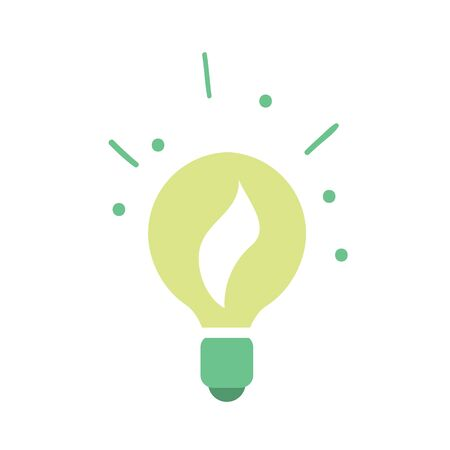 renewable resources: Vector illustration of light bulb with plant growing inside. Green power. Clean energy. Renewable resources concept. Eco lamp icon. Isolated object