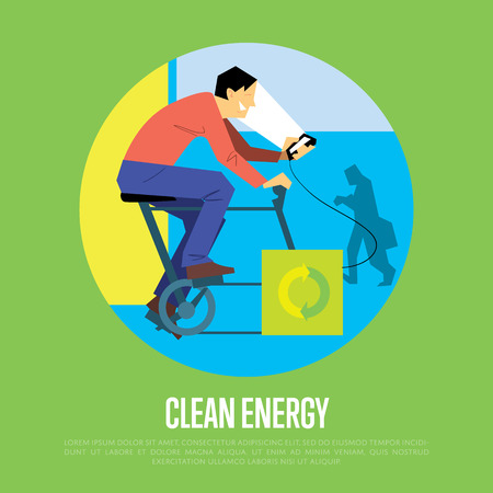generates: Clean energy round vector illustration. Man on bicycle with dynamo generates power for your smartphone. Charging station. Renewable energy. Eco generation. Alternative technologies