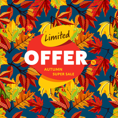 best ad: Autumn sale design template, vector illustration. Limited offer, autumn super sale banner on background of colorful leaves. Advertisement about autumnal discount. Backdrop with orange foliage