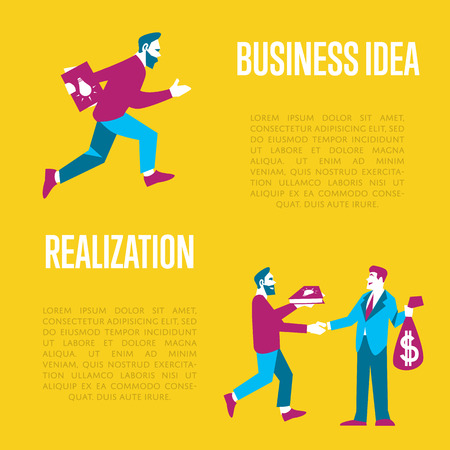 realization: Businessman exchanging his idea to money, vector illustration with space for text. From idea to realization and success concept. Investing in innovation, modern technology. Teamwork flat design.
