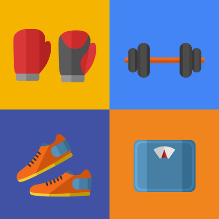 weigher: Vector illustration of gym sports equipment icons set. Boxing gloves, sports shoes, dumbbells and weigher on color background. Healthy lifestyle. Athletic equipment. Different tools for sport.