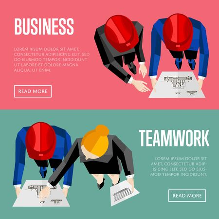 discussing: Business website templates, vector illustration. Top view of construction professionals discussing details of project with drawing. Architectural project management and teamwork communication concept Illustration