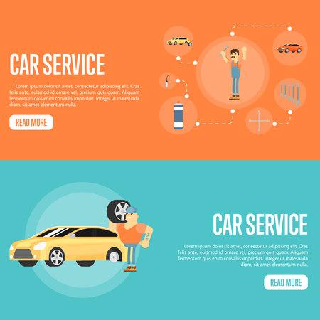 Servicio de reparación de automóviles ilustración plana horizontal banners vector de concepto