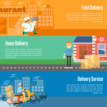 parcels: Delivery boy on scooter with cardboard boxes, postman with parcels near house, chef in uniform running with restaurant cloche. Food and home delivery service horizontal banners, vector illustration