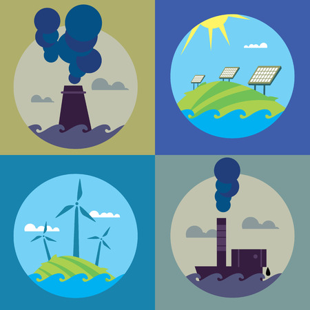 smoke stack: Eco energy and air pollution vector illustration set. Chemical factory with smoke stack, polluting atmosphere. Solar panels and wind turbines in natural landscape. Traditional and alternative sources Illustration