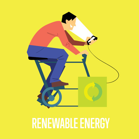 generates: Renewable energy vector illustration. Man on bicycle with dynamo generates power for your smartphone. Charging station. Clean energy. Eco generation. Alternative technologies