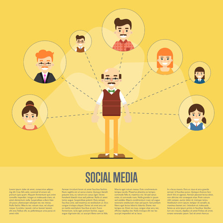 coordination: Smiling cartoon man with own successful social network. Social media banner on yellow background, vector illustration. Connecting people. Teamwork concept. Project coordination. Business team