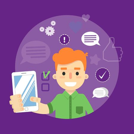 communication cartoon: Smiling cartoon boy holding smartphone on perpl background with communication icons, vector illustration. Social media concept. Connecting people, social networking, virtual communication Illustration
