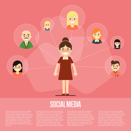 communication cartoon: Smiling cartoon woman with own successful social network. Social media banner on red background, vector illustration. Connecting people. Teamwork concept. Virtual communication. Media marketing