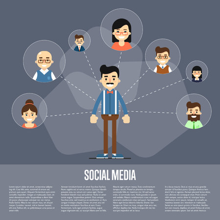 coordination: Smiling cartoon man with own successful social network. Social media banner on gray background, vector illustration. Connecting people. Teamwork concept. Project coordination. Business team