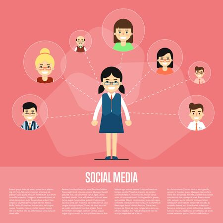 communication cartoon: Smiling cartoon girl with own successful social network. Social media banner on red background, vector illustration. Connecting people. Teamwork concept. Virtual communication. Media marketing