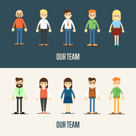 our people: Group of smiling cartoon people standing on white and gray background. Our team banner, vector illustration. Teamwork, collaboration and partnership, working together. Business success.