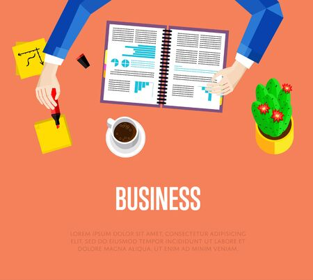 overhead: Business template. Top view office workspace, vector illustration. Overhead view of businessman working with financial documents on red background. Office workplace banner with space for text