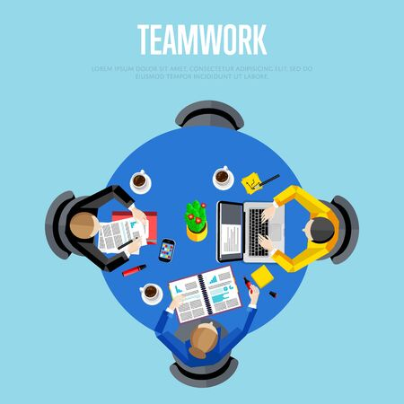 business meeting laptop: Teamwork concept. Top view workspace background, vector illustration. Business workplace with people, paperwork, laptop, cup of coffee and other objects on table. Project managers meeting. Illustration