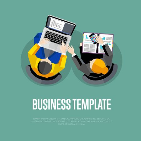 overhead: Business template with space for text. Top view workspace background, vector illustration. Overhead view of business people working with financial documents on blue background. Business workplace. Illustration
