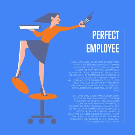 happy employee: Happy active businesswoman with mobile phone standing on office chair. Perfect employee banner, isolated vector illustration on blue background. Office lifestyle, business process. Human resource