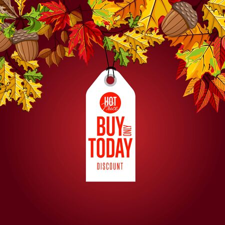 proposition: Autumn sale badge, vector illustration. Buy only today, hot price label on red background with colorful autumn leaves. White price tag with red text. Incredible sale proposition Illustration