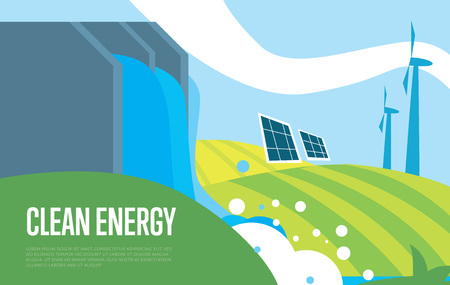 hydroelectric energy: Clean energy vector illustration. Natural landscape with dam of hydroelectric power plant, wind turbines and solar panels. Sun, water and wind energy generation. Green power. Eco technology