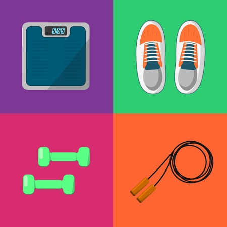 weigher: Vector illustration of gym sports equipment icons set. Skipping rope, sports shoes, dumbbells and weigher on color background. Healthy lifestyle. Athletic equipment. Different tools for sport.