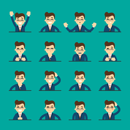ashamed: Cartoon man in various poses and facial expressions. People emotional icons isolated on blue background, vector illustration. Collection of female avatars faces. Different emotions icon set.