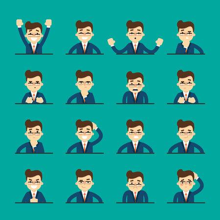Uomo del fumetto in varie pose e le espressioni facciali. Icone di persone emotive isolato su sfondo blu, illustrazione vettoriale. Collezione di avatar volti femminili. Emozioni diverse icon set.