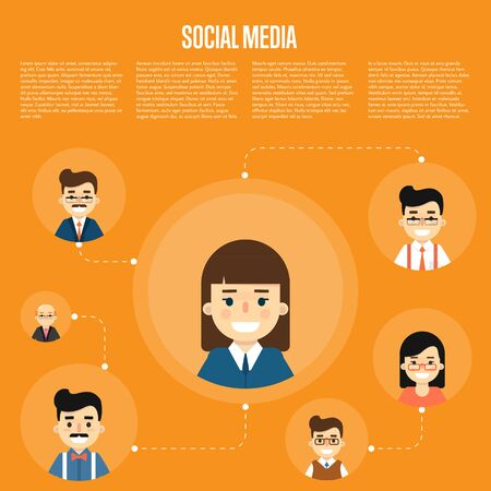 communication cartoon: Smiling cartoon girl with own successful social network. Social media banner on orange background, vector illustration. Connecting people. Teamwork concept. Virtual communication. Media marketing Illustration