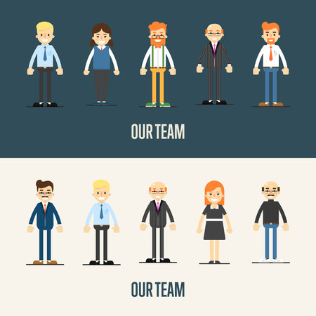our people: Group of smiling cartoon people standing on white and gray background. Our team banner, vector illustration. Teamwork and business team concept. Leadership and partnership. Business success. Illustration